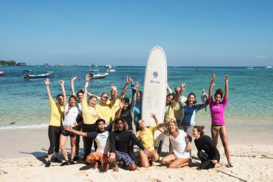 group of surf yoga retreat