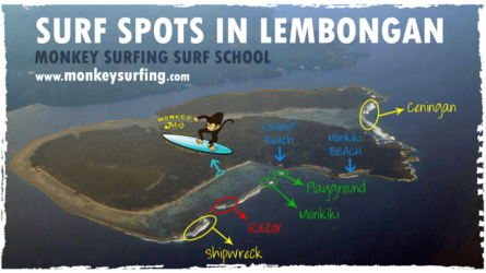 map of surf breaks in nusa lembongan